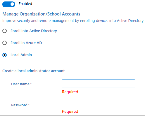 加入 Active Directory、Azure AD,或创建本地管理员帐户